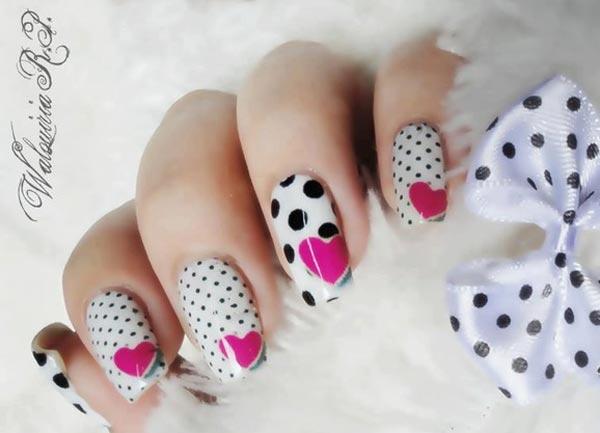 pink hearts black dots girly nails