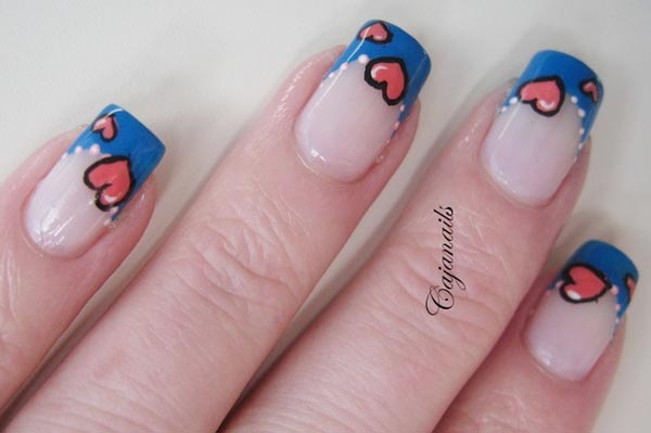 pink hearts blue tips french nails