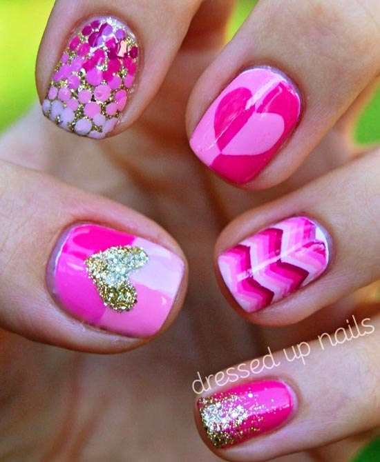 pink hearts dots stripes nails