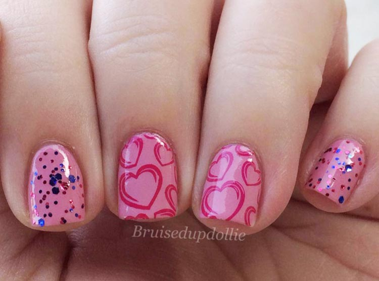 pink stamped hearts glitter valentine's day nails