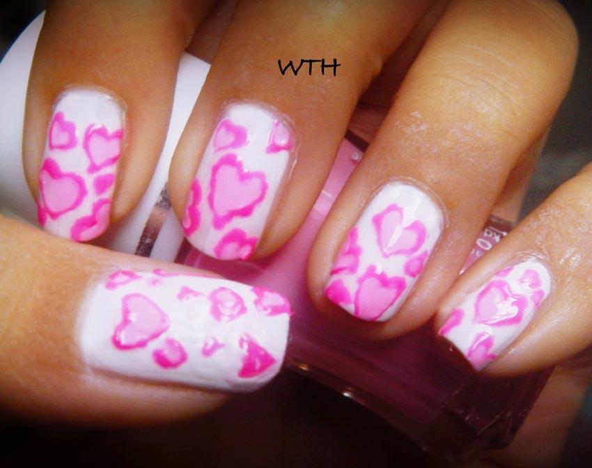 pink lace hearts girly nails