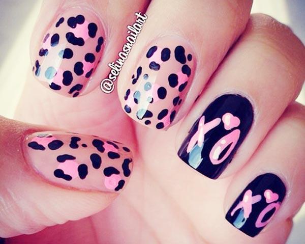 pink leopard black xoxo nails