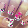 pink leopard bow french nails