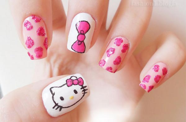 pink leopard bow hello kitty nails - Favnails