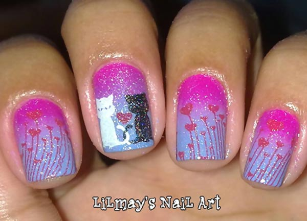 pink lilac gradient shimmer hearts cats nails