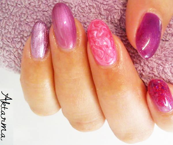 pink lilac marbled glitter girly nails