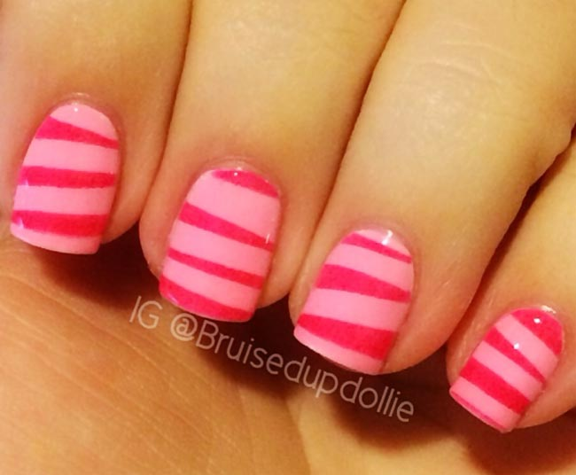 pink marbled candy nails