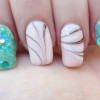 pink marbled turquoise glitter summer nails