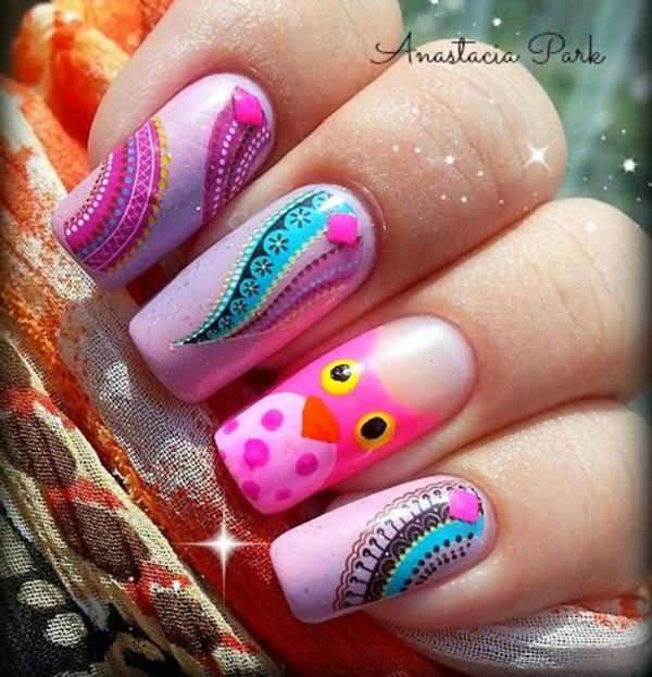 pink owl halloween lovely nails