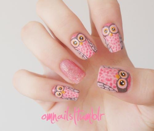 pink owls nails