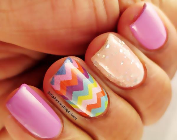 pink peach glitter chevron colorful nails
