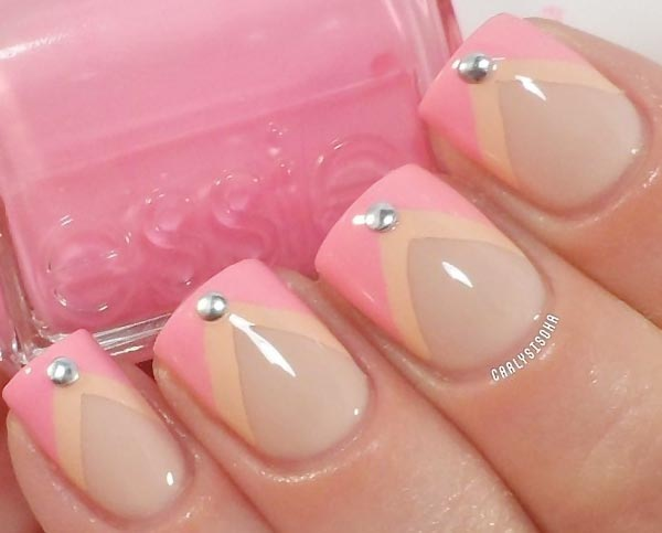 pink peachy chevron studded french nails