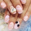 pink peachy glitter bow girly nails