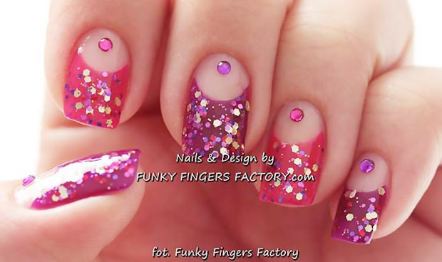 pink purple glitter rhinestones french party nails
