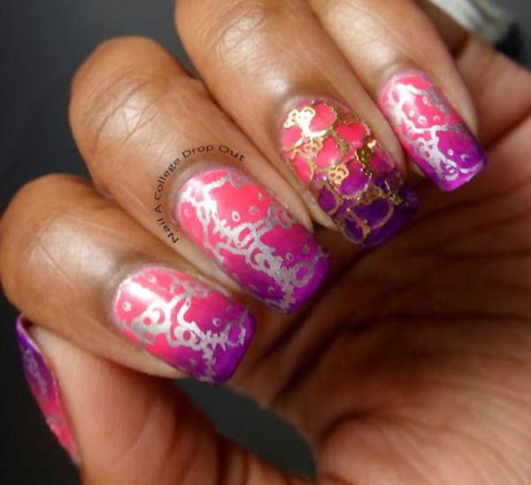 pink purple gradient hello kitty stamped nails