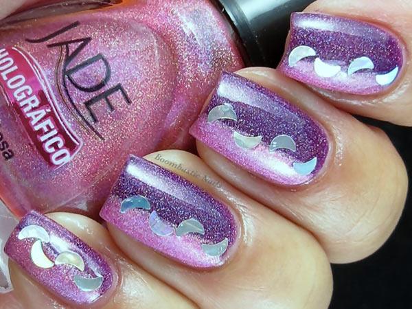 pink purple holo nails
