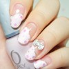 pink sequined glitter french bow girly nails