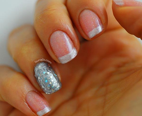 pink shimmer grey glitter french wedding nails