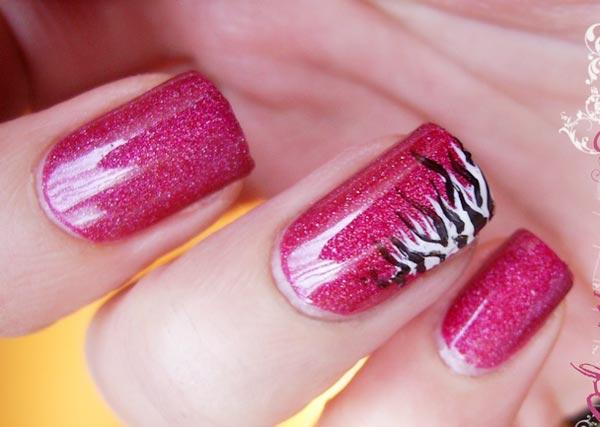 pink shimmer zebra accent nails