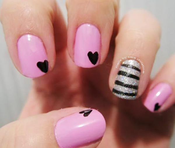 pink silver hearts valentine s day nails