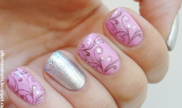 pink silver stamped damask nails