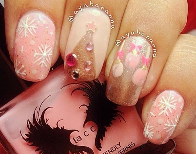 pink snowflakes christmas tree nails