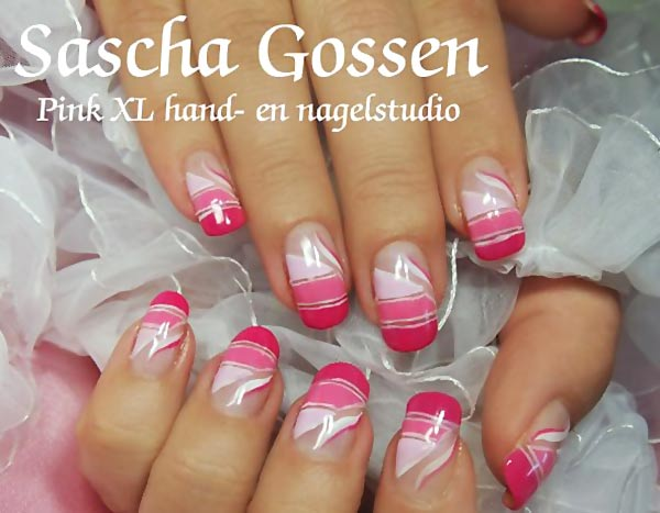 pink striped gradient french nails