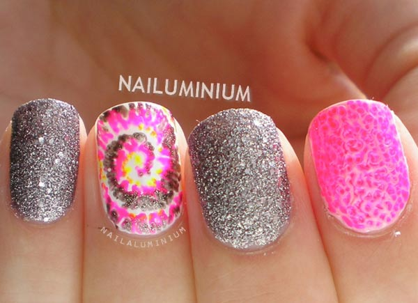 pink tie dye swirl silver glitter nails