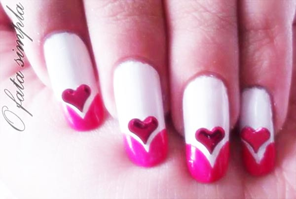 pink tipped hearts appliques valentine's day nails