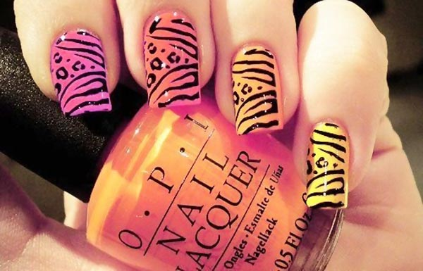 pink to yellow gradient leopard nails