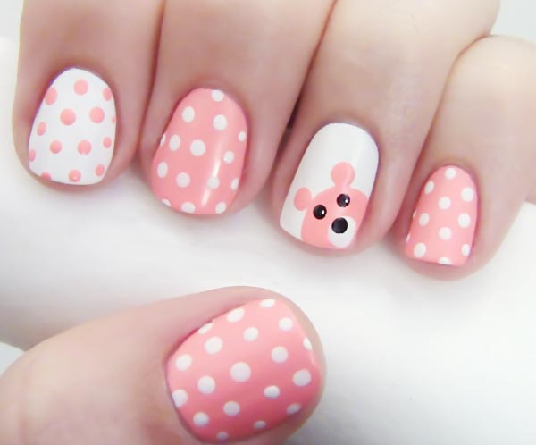 pink white dotted teddy lovely nails