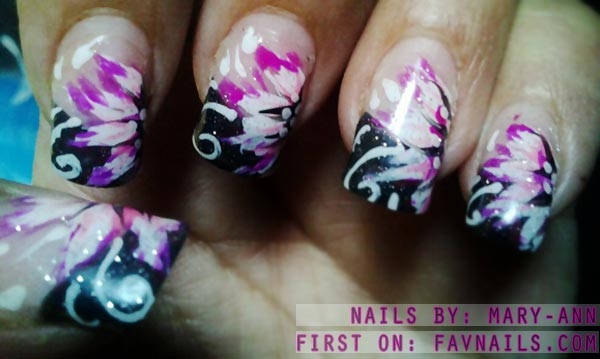 pink white flowers black french nails