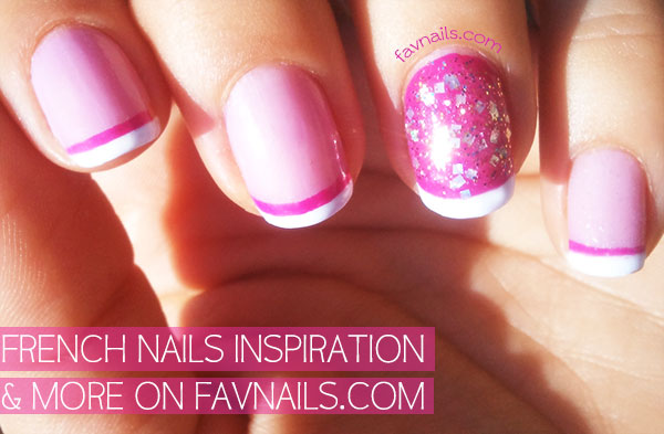 pink white glitter double french nails