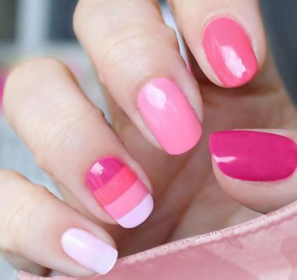 pink white gradient striped accent nails