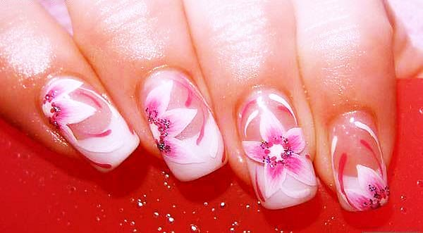 pink white one stroke flowers delicate french nails