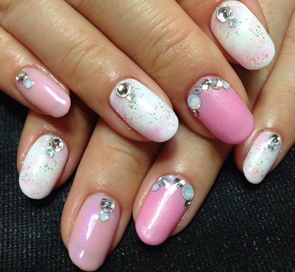Pink And White Nails With A Bow Newhairstylesformen2014 Com