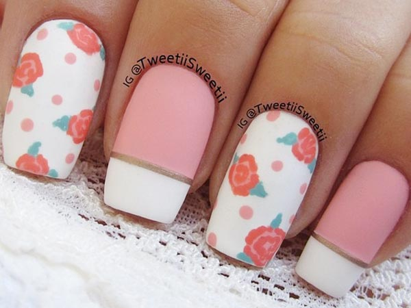 pink white roses french matte nails