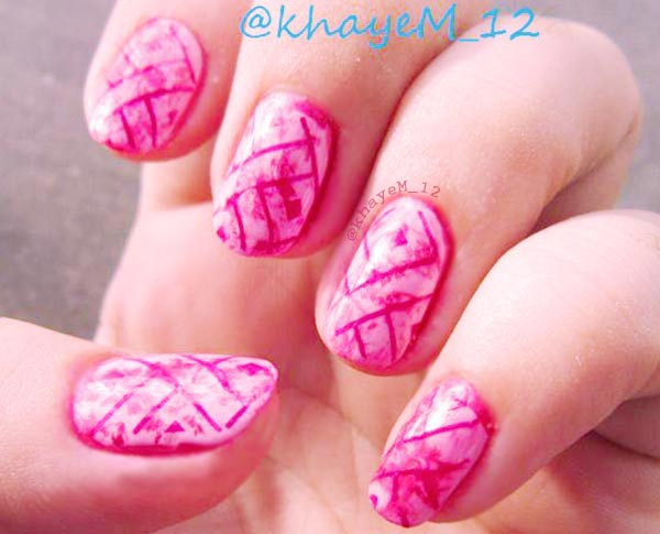 pink wrap marbled nails