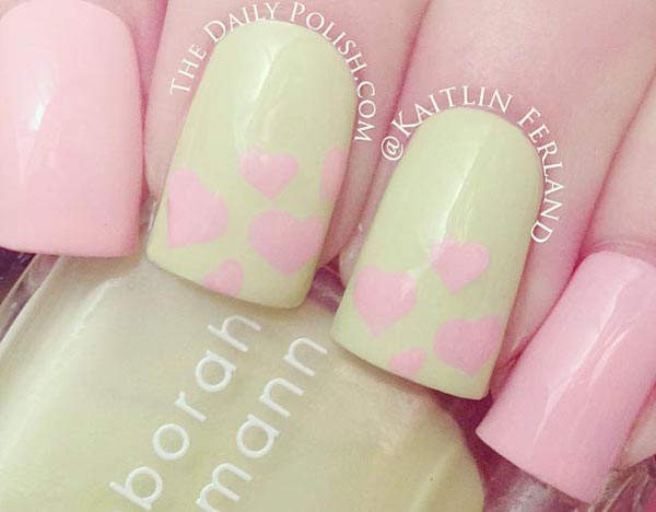pink yellow hearts easter nails