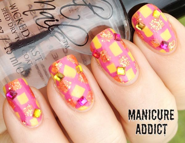 pink yellow gold rhinestones geometry nails