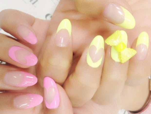 pink yellow hearts french soft pastels nails