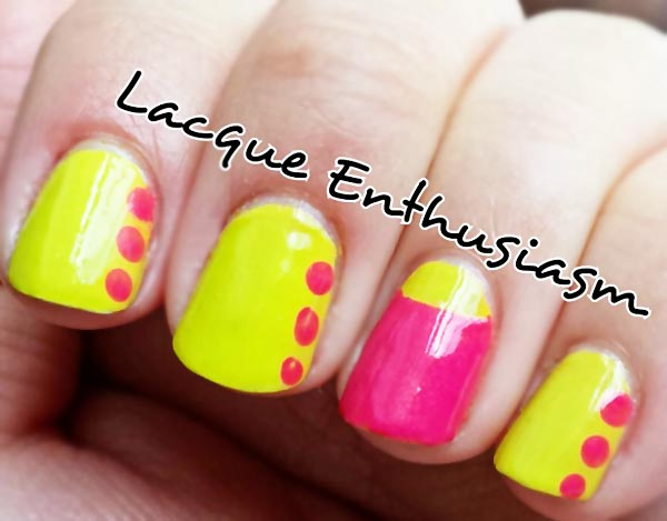 pink yellow neon summer nails