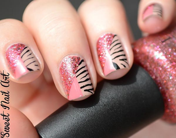 pink zebra glitter lovely nails