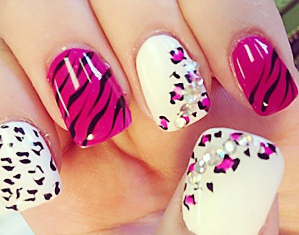 pink zebra white leopard rhinestones nails