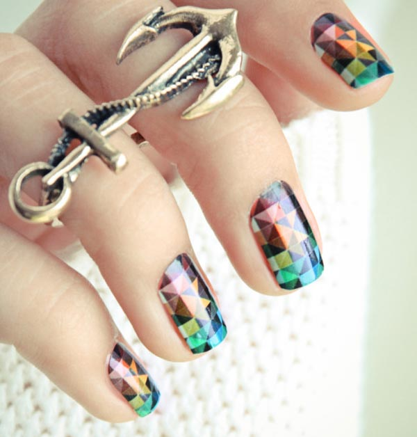 pixelated technicolor nails