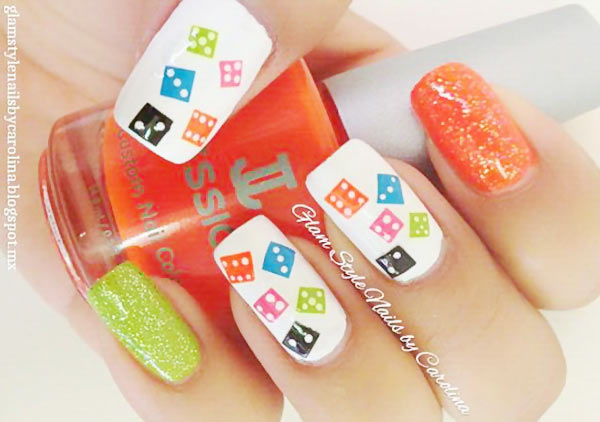 playful domino colorful nails