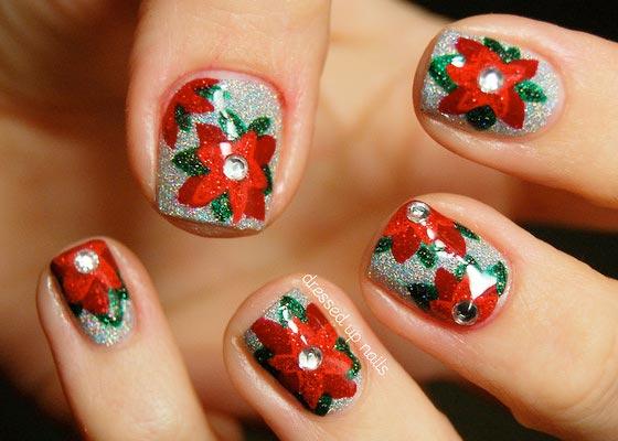 Poinsettia christmas nails
