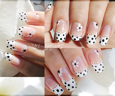 polka dots flowers french nails