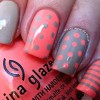 polka dots striped grey coral nails