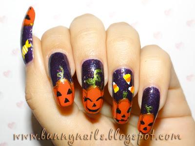 pumpkin halloween manicure